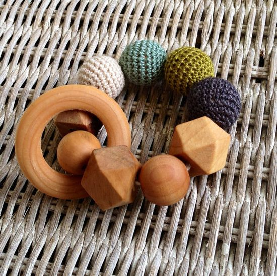Crochet and Wood Teething Toy by OhJustDandy on Etsy, $14.00