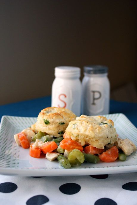 Lightened up chicken pot pie with pepper chive biscuits.