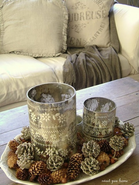 Pretty lace candles.