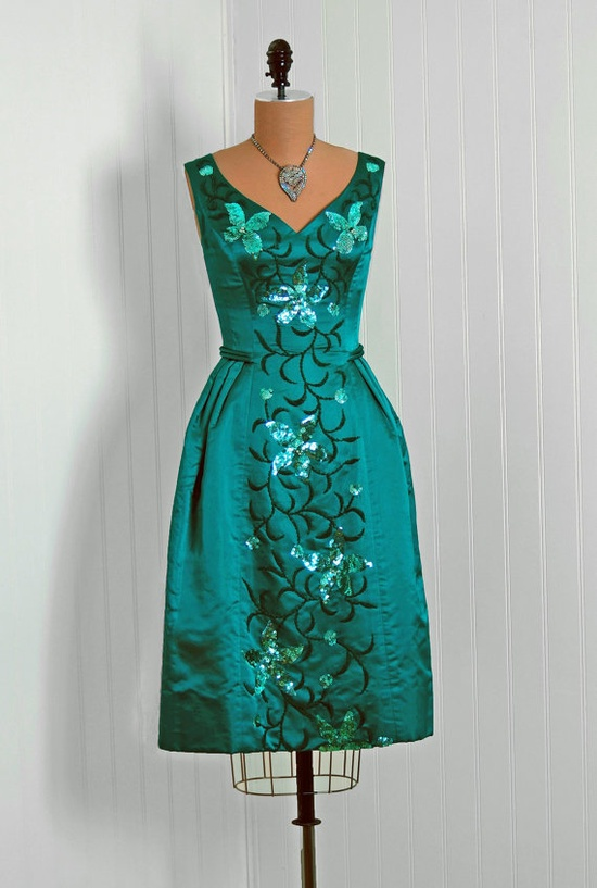 1950's Sequined Silk-Satin Cocktail Dress