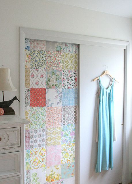 Vintage wallpapered closet door