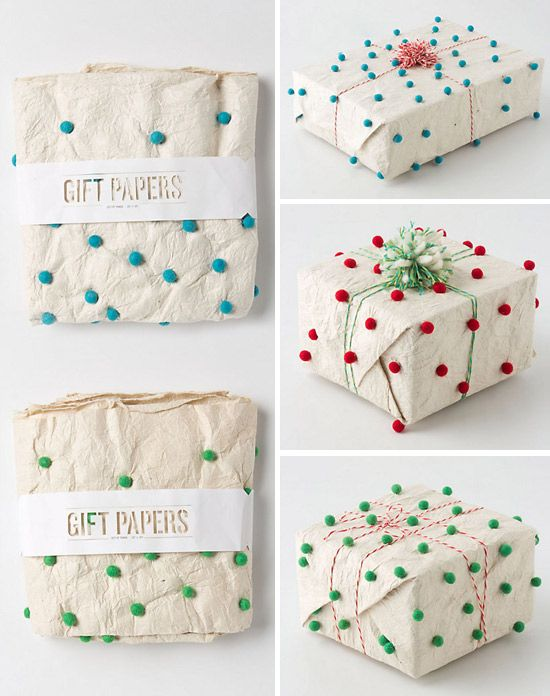 pom pom gift wrap. Need - little pom poms from anywhere. glue gun/craft glue. ANY color paper, paper  bag or even fabric.  Pom poms look cute on everything.