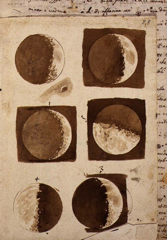 Drawings of the moon by Galileo Galilei published in March 1610 as a short treatise titles 'Sidereus Nuncius' (Starry Messenger).