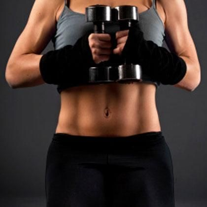 Six moves and a set of dumbbells and you're ready to work your abs!