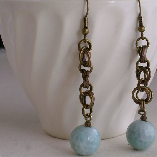 Agate Chainmaille Earrings with Antique by WestHillNook on Etsy, $8.00