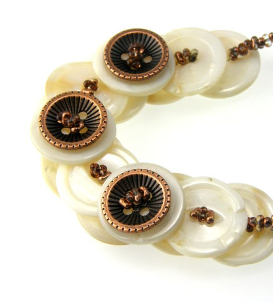 Mother of Pearl Layered Button Necklace by TrinketsNWhatnots, $45.00 www.trinketsnwhat...