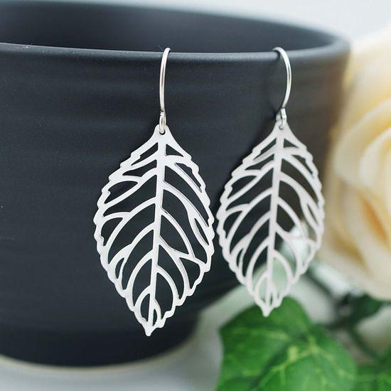 Jewelry Dangle Earrings Matte Rhodium leaf charm by earringsnation