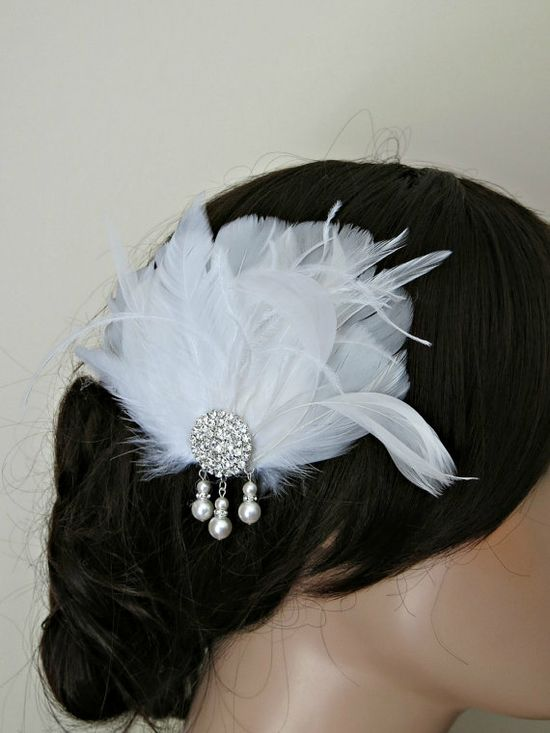 Feather Fascinator Wedding Hairpiece White by parfaitplumes, $38.00