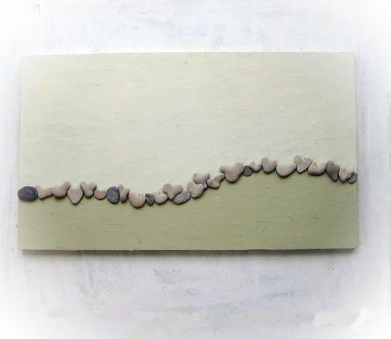Original OOAK 3D Art Painting with genuine Heart Shaped Beach rocks.
