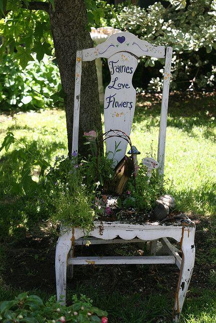 """""""faeries love flowers"""" chair garden"""