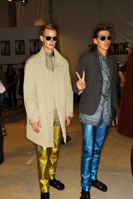Backstage at Burberry's SS13 Milan Men's Fashion Week Show.