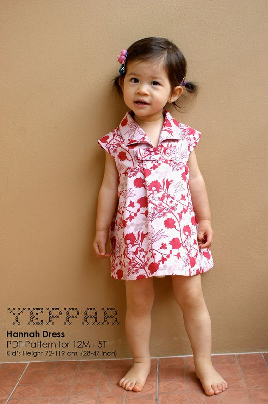 PDF Pattern - Hannah Dress for 12M - 5T and tutorial..