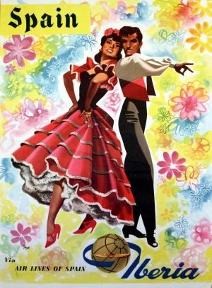 Spain via Iberia, 1960s - original vintage poster listed on AntikBar.co.uk