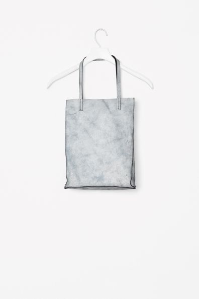 Crackled leather tote bag COS