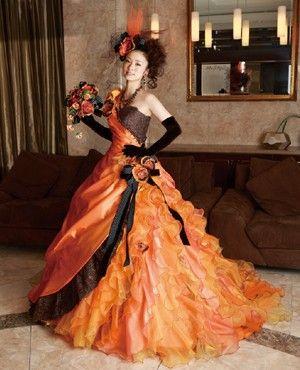 Orange and Black Gothic Wedding Dress Halloween