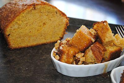 Pumpkin Pound Cake with Caramel Walnut Sauce