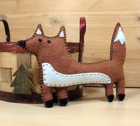Fox Hand Sewing PATTERN Felt Stuffed Animal by LittleHibouShoppe