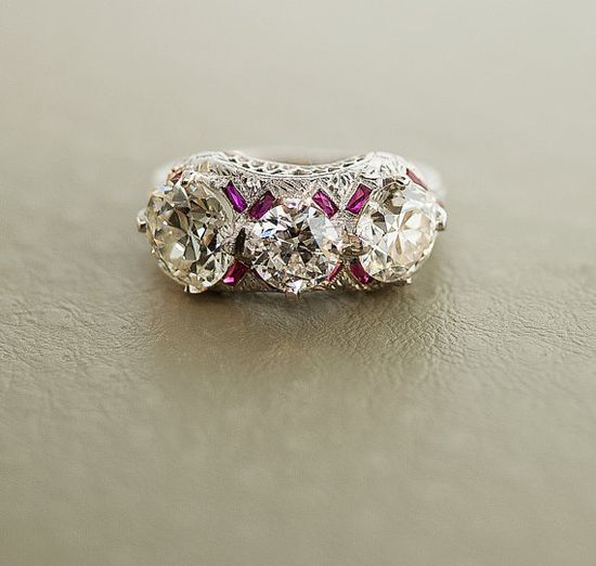 Antique Platinum 3.42 carat  Diamond & Ruby Ring by SITFineJewelry, $43500.00