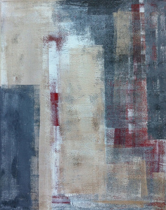 Grey, Beige and Red Abstract Art Painting