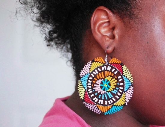 African Seed Bead Earrings