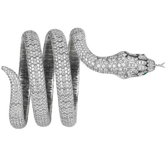 A Boucheron diamond bracelet in the shape of a python, a house motif.