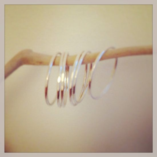 Dainty silver stackable rings  on Etsy, £36.00