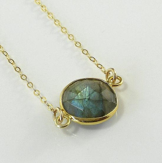 Labradorite Necklace 14K Gold Filled Solitaire by ZionShore