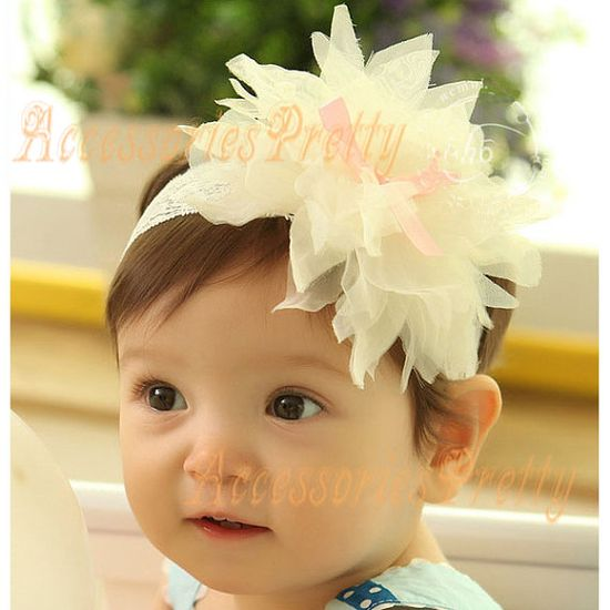 Handmade Lace Flower Baby Headband Hairband by AccessoriesPretty, $3.99