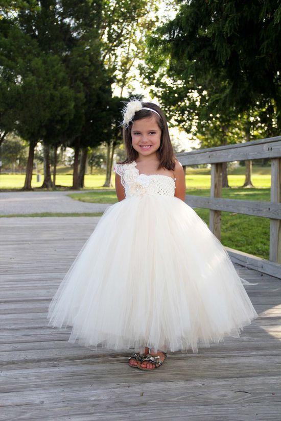 Elegant Ivory Vintage flower girl tutu dress, Flower girl dress, tutu dresses, headband,