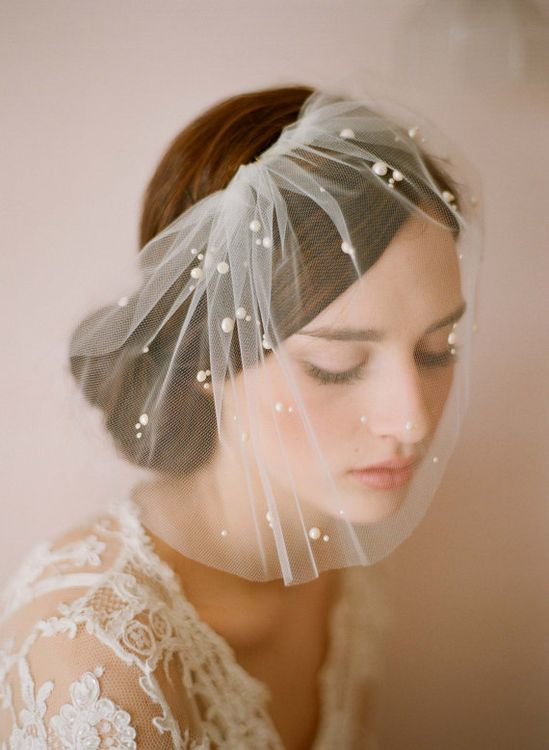Bridal tulle veil with pearl beads  Mini tulle veil by myrakim, $150.00