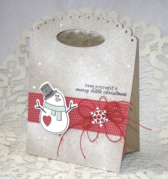 Handmade Gift Bag  Christmas Holiday Snowman by EndlessInkHandmade, $5.00