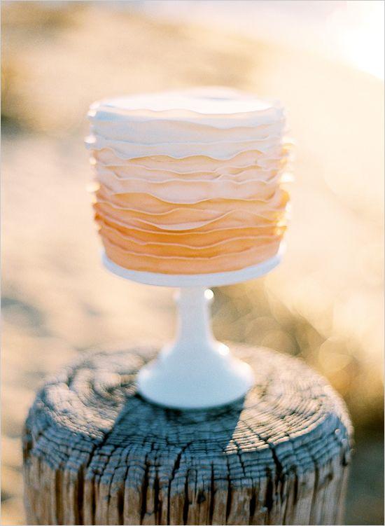 ombre peach wedding cake