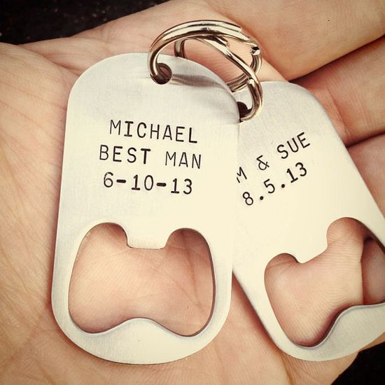 Personalized Bottle Opener Keychain. for the guys in the wedding