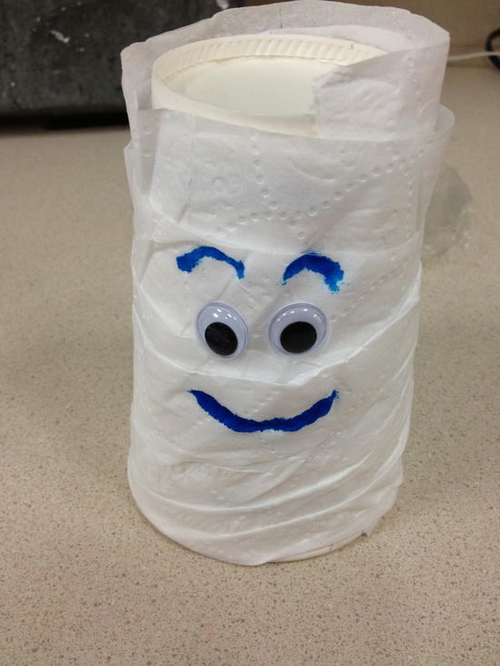 Mummy cup. Just toilet paper and glue and the google eyes work great.