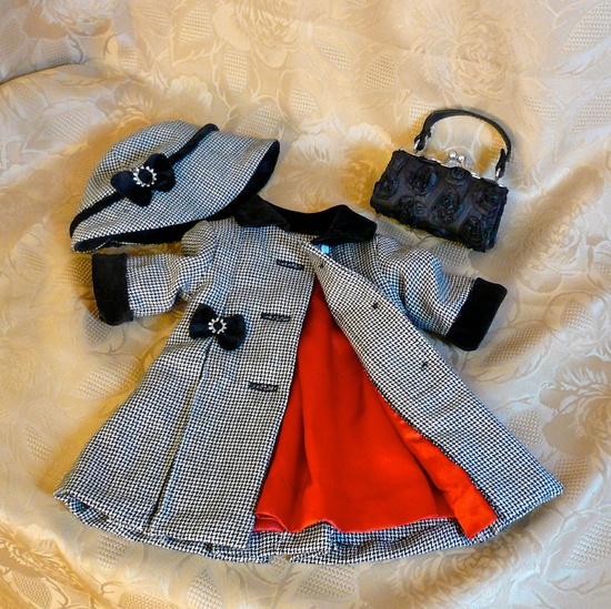 American Girl, 18 inch doll clothes:  Wool coat and hat with velvet trim, purse.