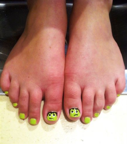 Frankenstein pedicure - Nail Art Gallery by NAILS Magazine