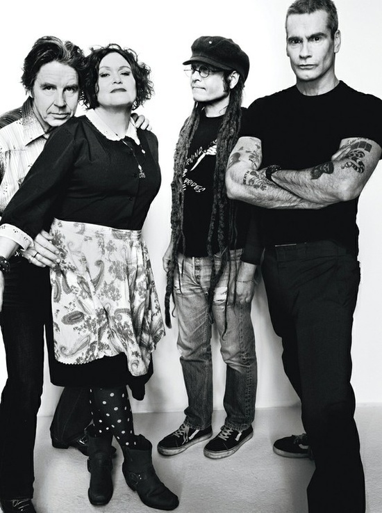 John Doe and Exene Cervenka of X, Keith Morris of Black Flag and Circle Jerks, and Henry Rollins of Black Flag