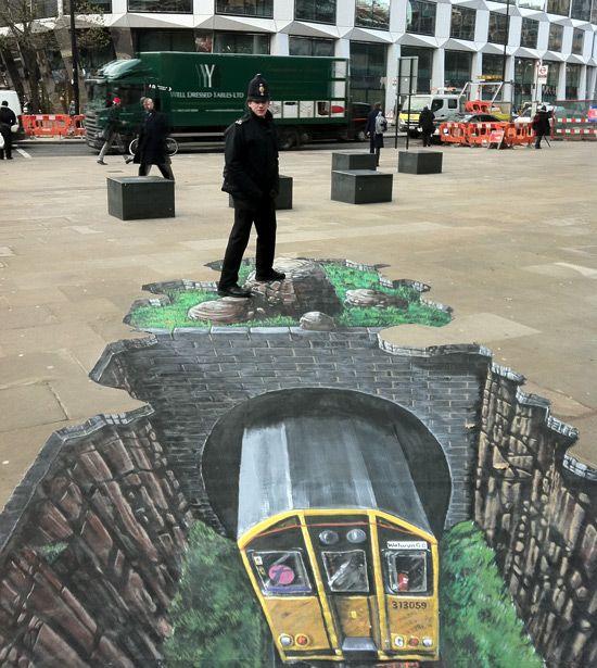 3D chalk, Metro