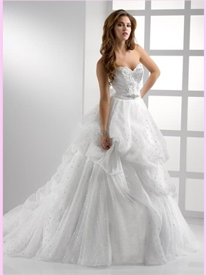 A line white strapless beading 2013 Wedding Dress