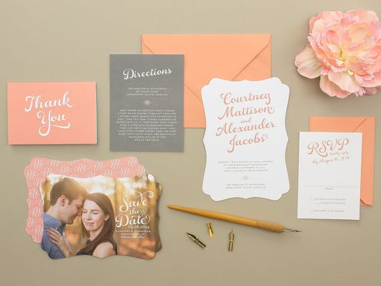 Die Cut Wedding Invitations, calligraphy script wedding invitation