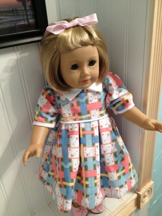 American Girl Doll Clothes - Spring Dress/Bloomers Set with Matching Hair Bow