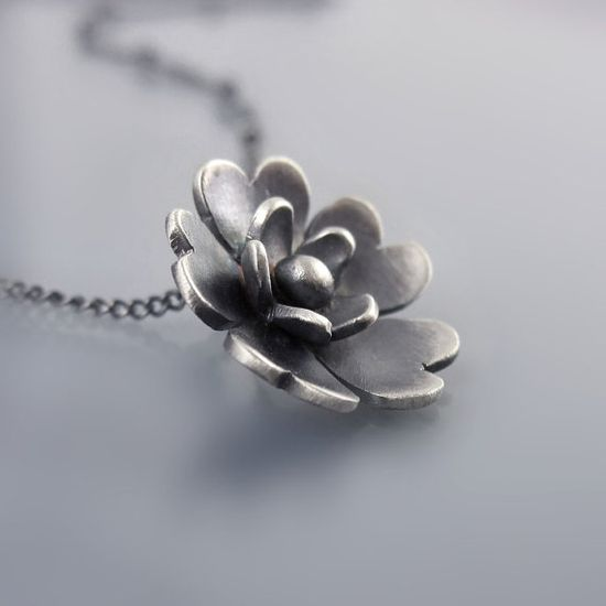 Tiny Sterling Silver Blossom Necklace by Lisa Hopkins Design