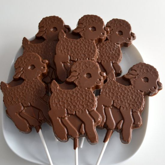 Chocolate Lamb Lollipops Great for Baby Showers by NicolesTreats, $12.00