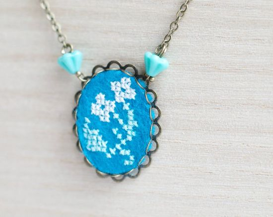Hand embroidered necklace white flower on blue felt  by skrynka, $20.00