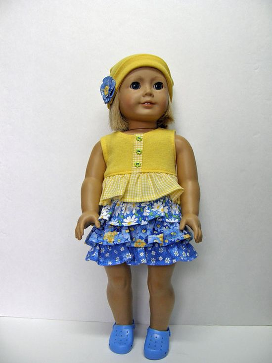 American Girl doll clothes - dress and hat - 18 inch doll clothes