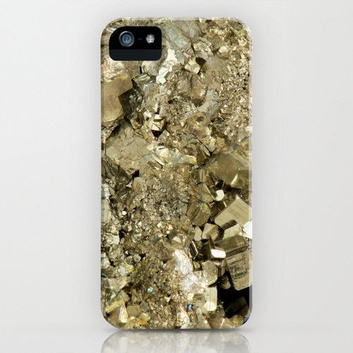 iPhone case with image of crystal pyrite by dsbrennan.
