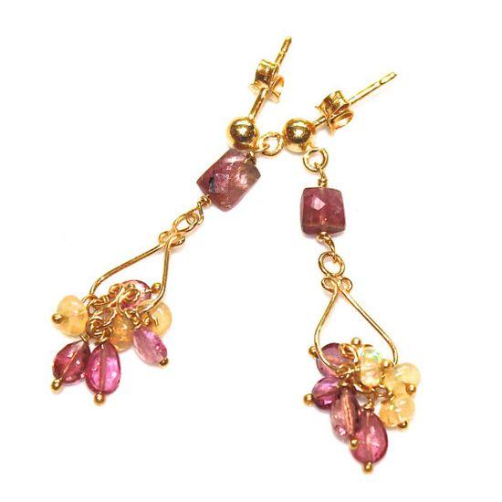 Pink Tourmaline Earrings Chandelier Earrings by FizzCandy on Etsy #tourmaline #chandelier #earrings #jewelry #fizzcandy