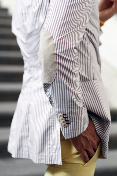 Seeksucker blazer and yellow pants