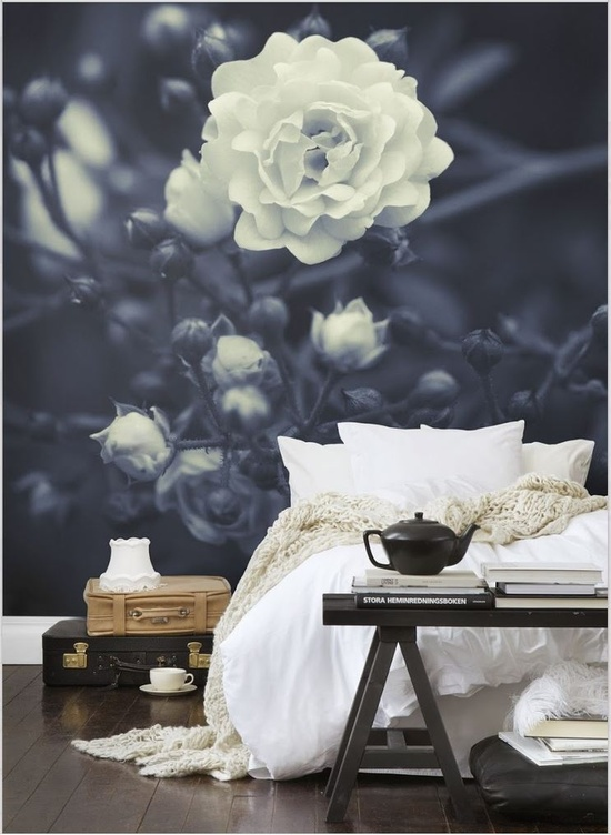 botanical photo mural in a bedroom