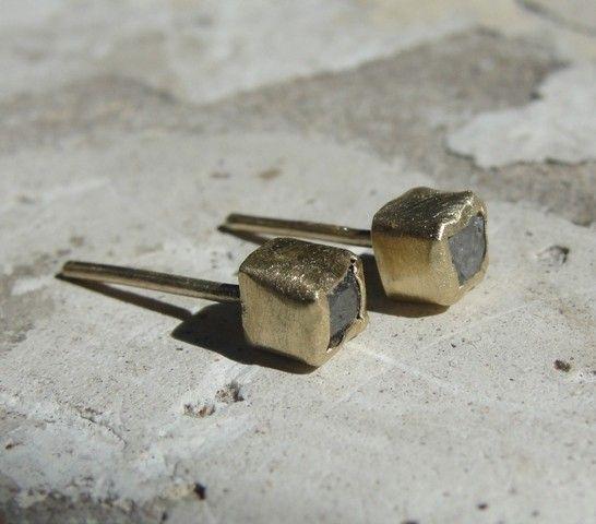 rough diamond & gold studs